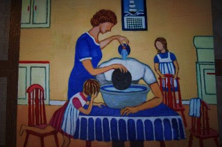Father having his hair washed