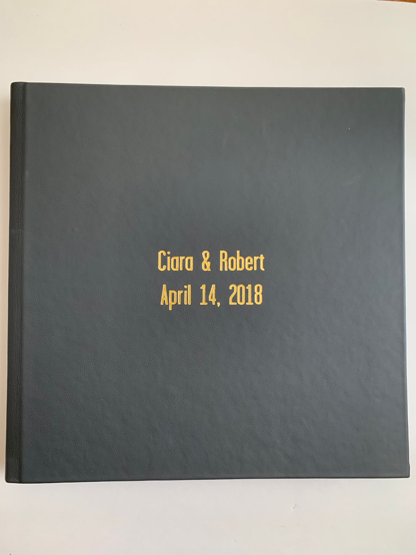 12x12 Album - Ash leather with gold debosisng