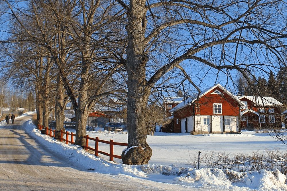 Snow covered country home