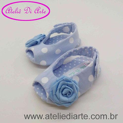 Sapatinho de bebê feminino chanel azul claro