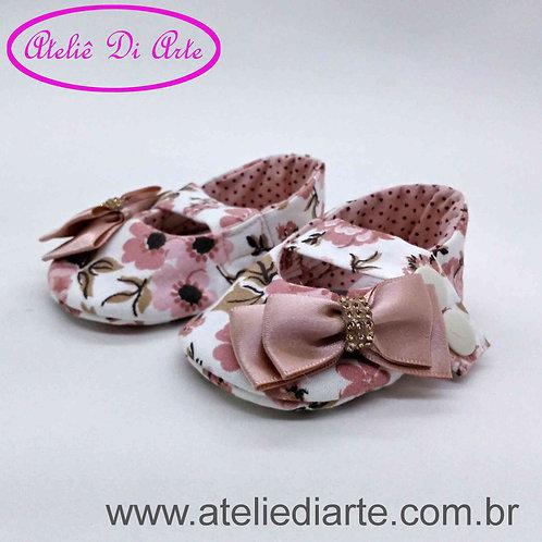 Sapatinho de bebê feminino lacinho rosa