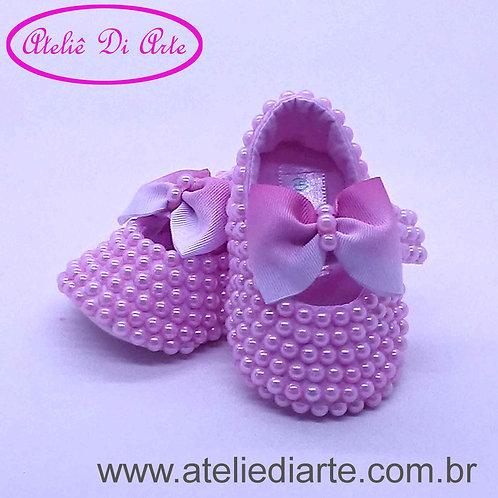 Sapatinho de bebê feminino pérolas rosa