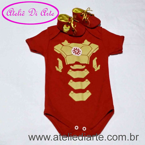 Conjunto de bebe masculino Homem de Ferro
