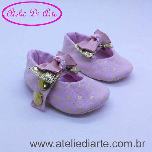 Sapatinho de bebê feminino laço rosa e dourado