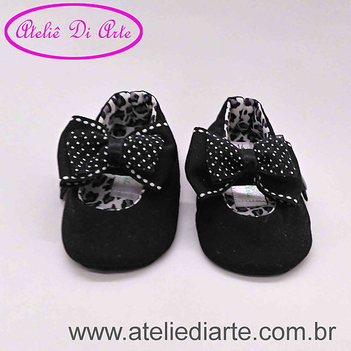 Sapatinho de bebê feminino preto e branco