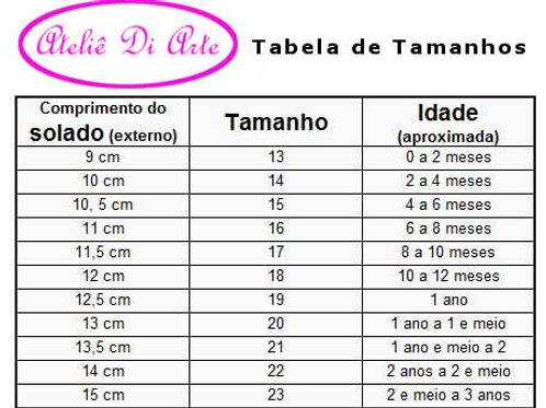 tabela de Sapatinho de bebê feminino vermelho lacinho de bolinha