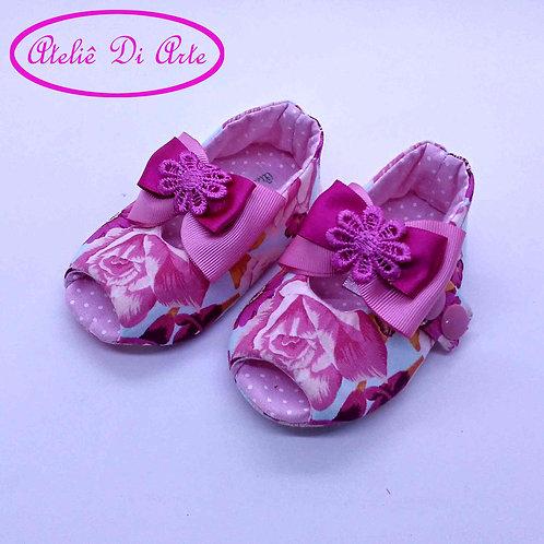 Sapatinho de bebê feminino chanel rosa e azul