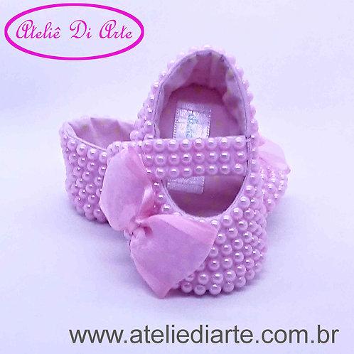 Sapatinho de bebe feminino perolas rosa com lacinho