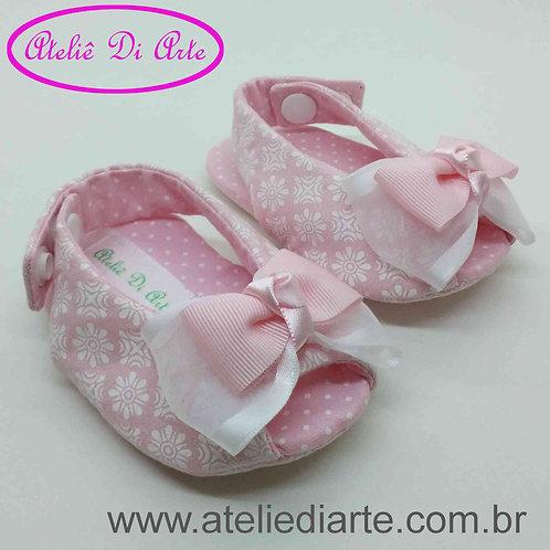 Sapatinho de bebê feminino chanel rosinha