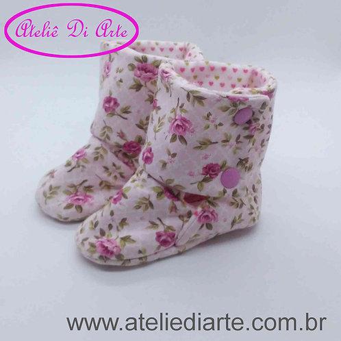 Botinha Feminina flores rosa