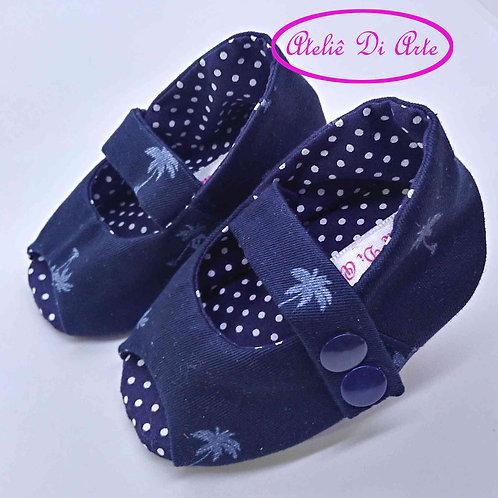 Sapatinho de bebê feminino peep toe azul
