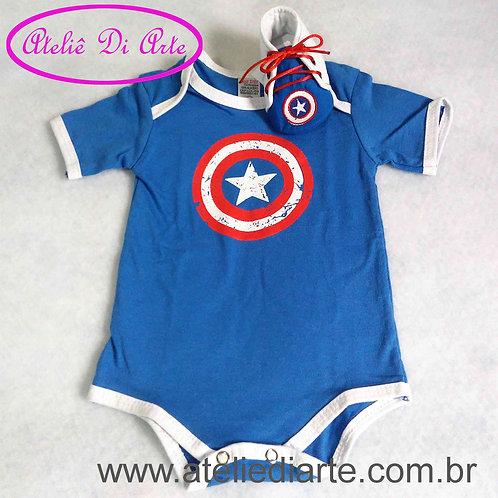 Conjunto de bebê masculino escudo do Capitão América
