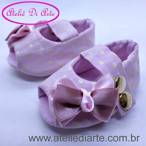 Sapatinho de bebê feminino rosa de bolinha dourada