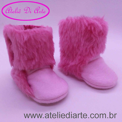Botinha Feminina pelúcia rosa