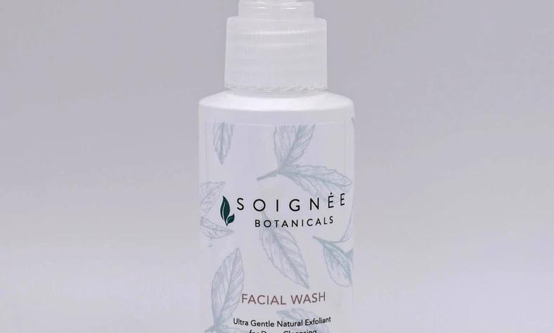 Wash awaydirt, makeup, environmental impurities, and exfoliate skin with Soignee Facial Wash