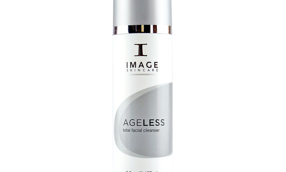 AGELESS total facial cleanser removes makeup, balances skin's pH and gently exfoliates surface cells