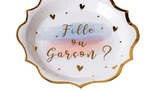 Assiettes Gender Reveal