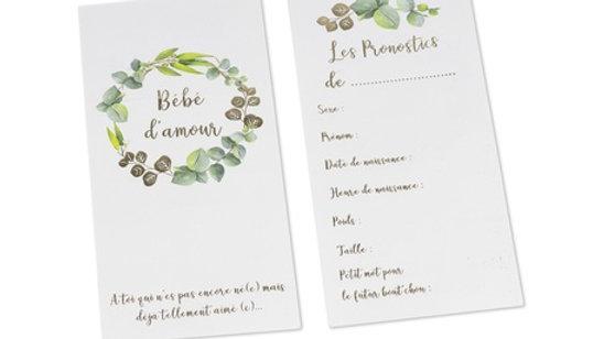 Carte de pronostics Mixte Bébé d'amour