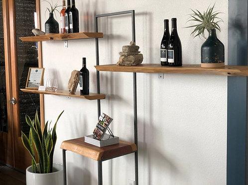 Custom handcrafted live edge bookshelf