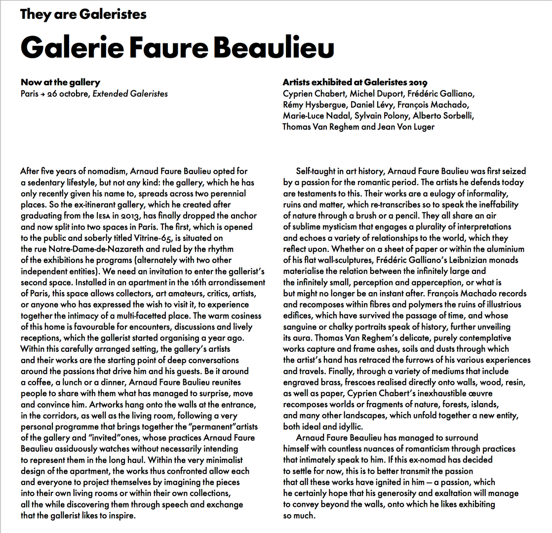 Portrait written by Horya Mahklouf with Jeunes Critiques d'Art, for Galeristes, october 2019