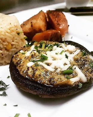 Artichoke and spinach dip stuffed mushro