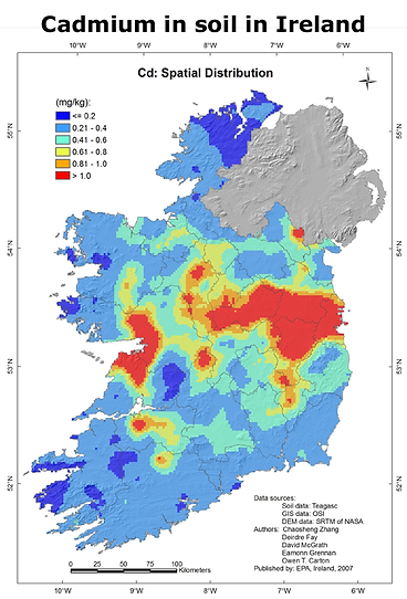 Map-Cadmium in soil in Ireland.png