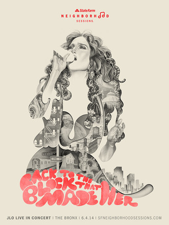 Jennifer Lopez, Bronx Homecoming concert poster / State Farm Neighborhood Sessions