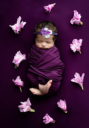 Newborn baby in purple wrap with pink flowers in studio in Saskatoon, SK