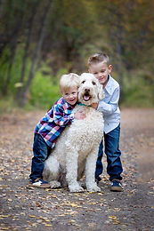 Brothers hugging their puppy at the Family session in the park in Saskatoon, SK