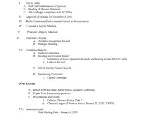 Board Meeting - December 2, 2019