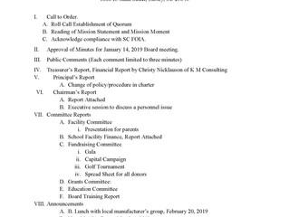 Board Meeting - February 4, 2019