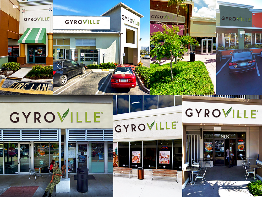 Gyroville differents locations front entrance Ft. Lauderdale, Plantation, Kendall, Doral, 17st Ft. Lauderdale, Pembroke Pines, Miami Lakes,