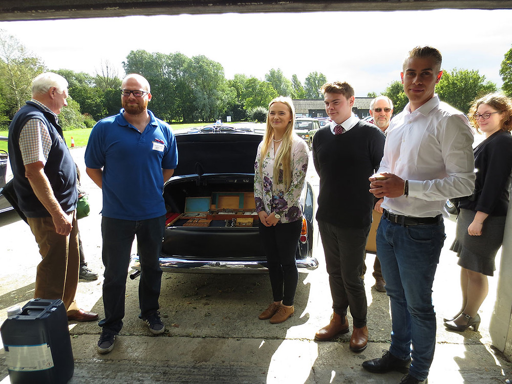 Apprentices were invited to choose additional tools donated by John Ball from the boot of Russ Herbert's 1955 James Young Bentley S1.  From left to right:- Russ Herbert, Sam, Rebel, Cameron, John Ball, Lloyd, Amii (Hunt House).