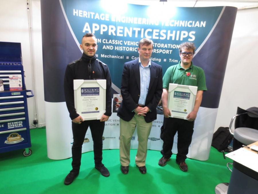 Zach White and Simon Pickering receive the Rolls-Royce Enthusiasts Club, Great Western Section's apprenticeship awards