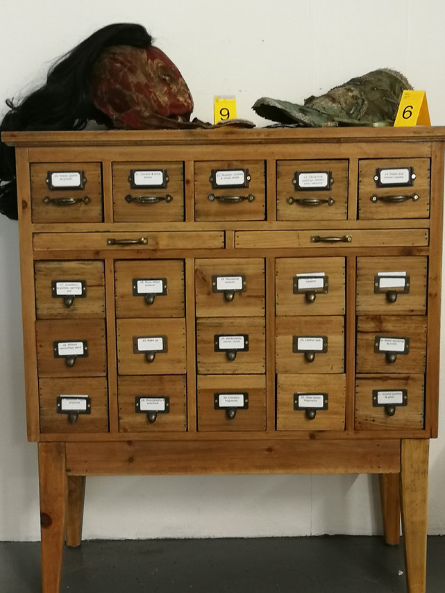 Apothecary cabinet with armoured garment