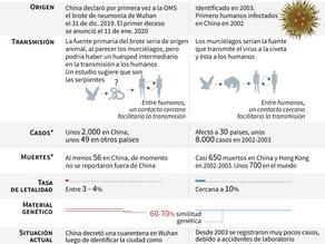 """El virus chino """"no es tan potente"""" como el SRAS pero más contagioso (funcionarios)"""