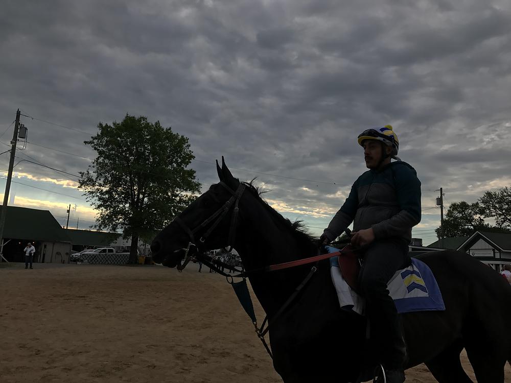 Un galopador se prepara para entrenar caballos días prevois al Derby en el Churchill Donws. J. Donis Al Dia en America.
