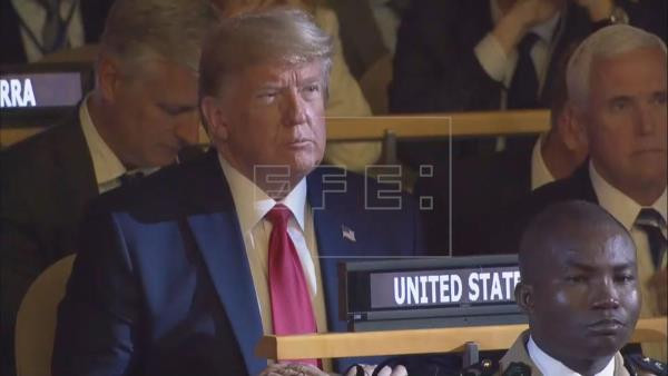 A screengrab taken from the UN Web TV live feed showing US President Donald J. Trump attending the 2019 Climate Action Summit which is being held ahead of the General Debate of the General Assembly of the United Nations at United Nations Headquarters in New York, New York, USA, 23 September 2019. EFE/EPA/UN WEB TV LIVE FEED HANDOUT