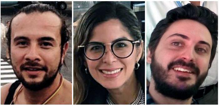 Fotografía de archivo de los tres periodistas de la Agencia EFE, los colombianos Mauren Barriga (c); el fotógrafo Leonardo Muñoz (izda), y el español Gonzalo Domínguez, que fueron detenidos por las autoridades de Venezuela en Caracas, a donde viajaron desde Bogotá la semana pasada para cubrir la crisis de ese país. EFE