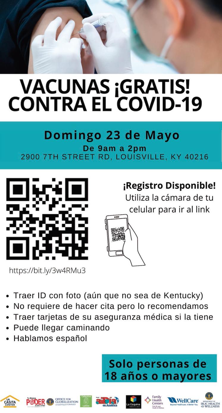 Domingo 23 de mayo vacunas contra el COVID 19 de 9 am a 2 pm