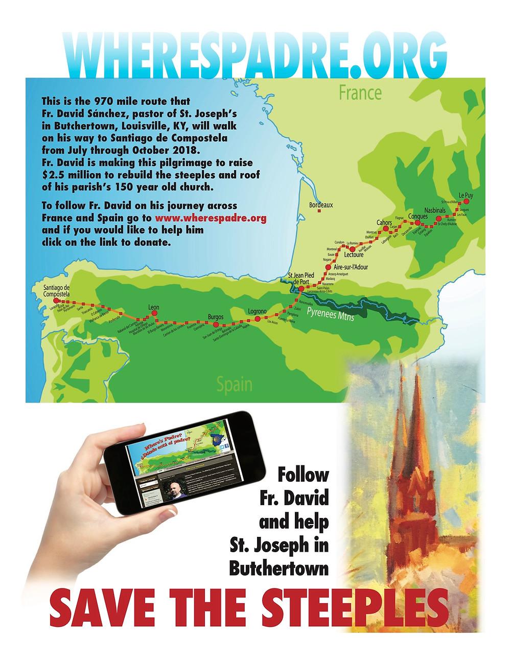 Ruta de la caminata que seguirá el Padre David Sánchez para recolectar fondos para salvar las torres de la Iglesia de San Jose.