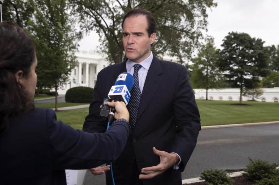 Mauricio Claver-Carone, special assistant to US President Donald J. Trump and senior director of the US National Security Council's Western Hemisphere Affairs division, participates in a news media interview during which he discussed Venezuela; outside the West Wing of the White House in Washington, DC, USA, 23 July 2019. EFE/EPA/MICHAEL REYNOLDS