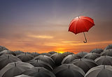 Red umbrella fly out from crowds of blac
