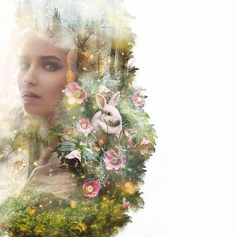 Visual digital art. Fairytale young woma