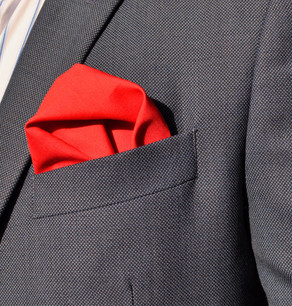 SPICE UP YOUR SUIT WITH A RED POCKET SQUARE