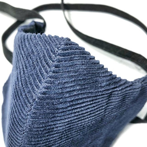 Navy Blue Corduroy Face Mask