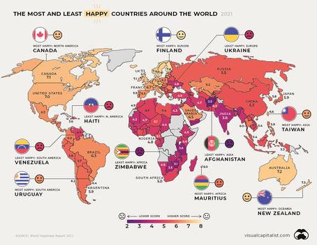 [Visual Capitalist] 2021년 글로벌 행복지표