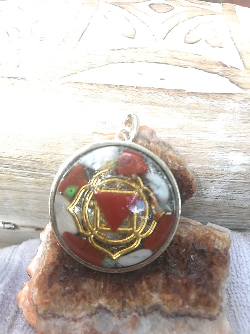 """1- Root Chakra: """"Divine Earthly Presence' Gold Symbol. Silver Back"""