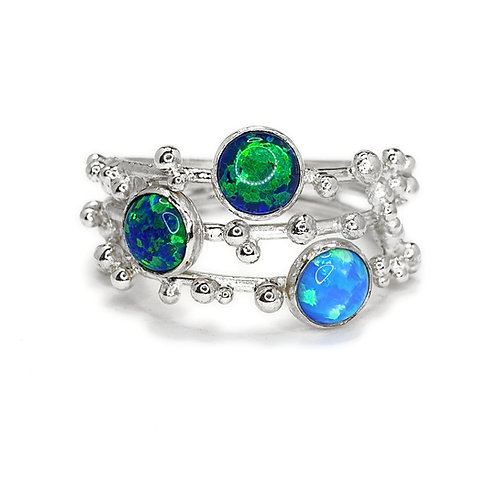 Silver And Coloured Opal Statement Ring
