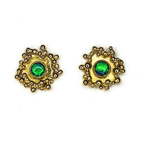 Gold Vermeil Granulation Black Opal Earrings